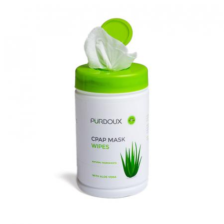 Servetele umede curatare masca CPAP - Purdoux Aloe Vera (Dispenser 70 buc)1