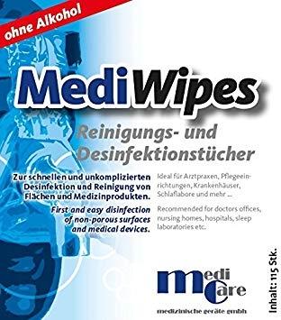 Servetele umede curatare/dezinfectare masca CPAP - MediWipes Neutral (115buc,30x30cm)1