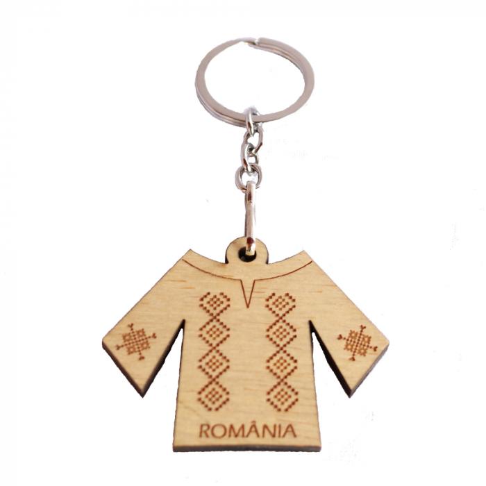 Breloc suvenir gravat, Ie romaneasca, Romania [0]