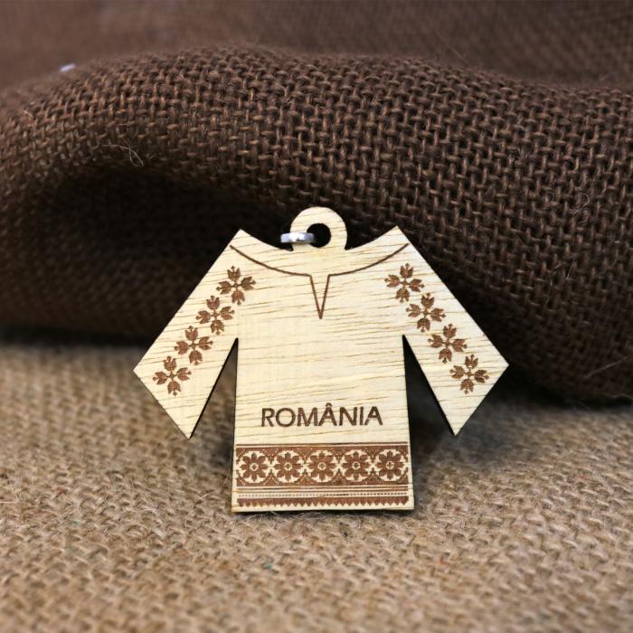 Breloc suvenir Gravat, Din Lemn, IE Traditionala Romania [3]