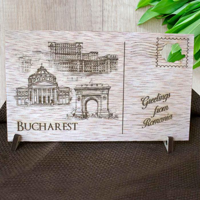 Carte Postala suvenir, din lemn, Gravata, Visit Bucuresti [5]