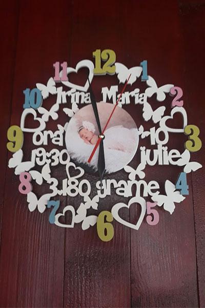 Ceas personalizat bebelusi - Nume, Greutate, Data Nasterii, Ora nasterii 0