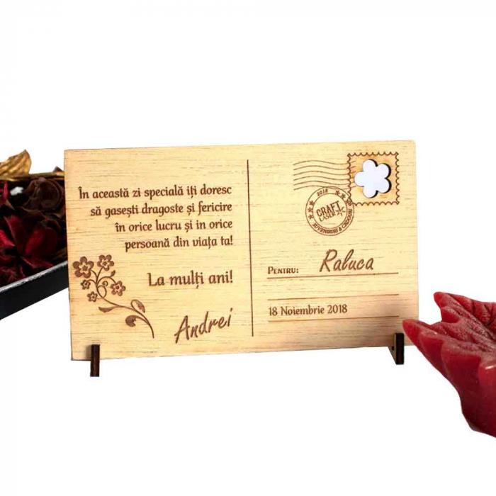 "Felicitare din lemn, gravata, personalizata, ""Declaratie de Dragoste"" 1"
