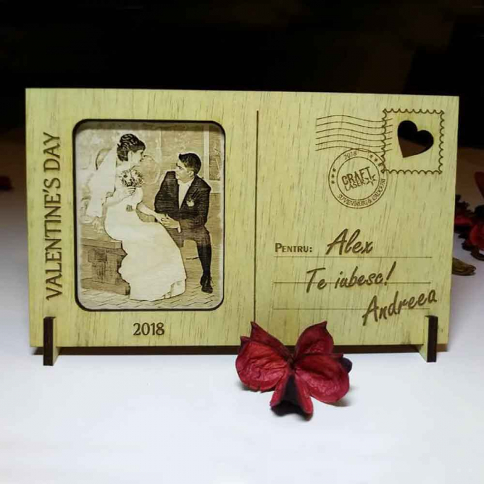 Felicitare Din Lemn, Gravata, cu poza si mesaj personalizat [0]