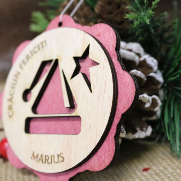 "Glob De Craciun Din Lemn, Personalizat, ""Christmas Angel"" 1"
