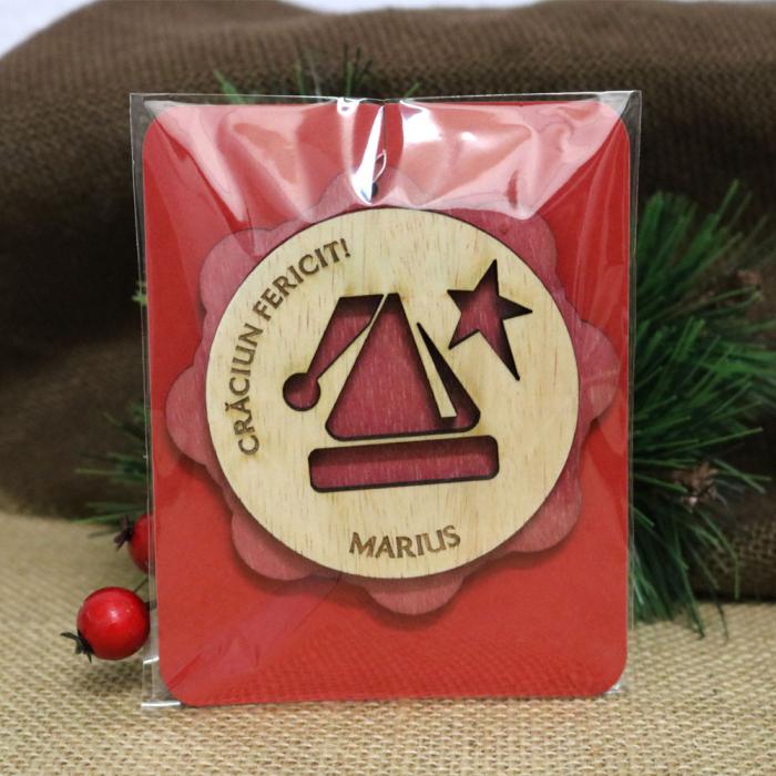 "Glob De Craciun Din Lemn, Personalizat, ""Christmas Angel"" 3"