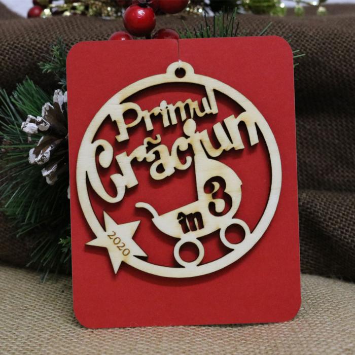 """Glob de Craciun personalizat """"Primul Craciun in 3"""" [1]"""