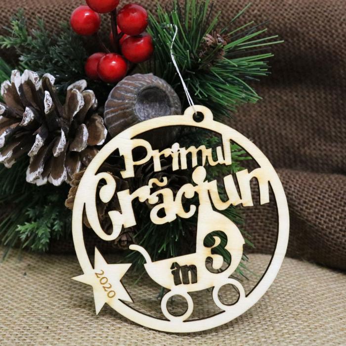 """Glob de Craciun personalizat """"Primul Craciun in 3"""" [0]"""