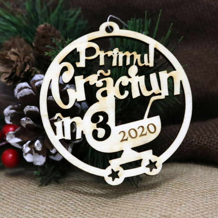 """Glob De Craciun, Rotund, Din Lemn, """"Primul Craciun In 3"""" [0]"""