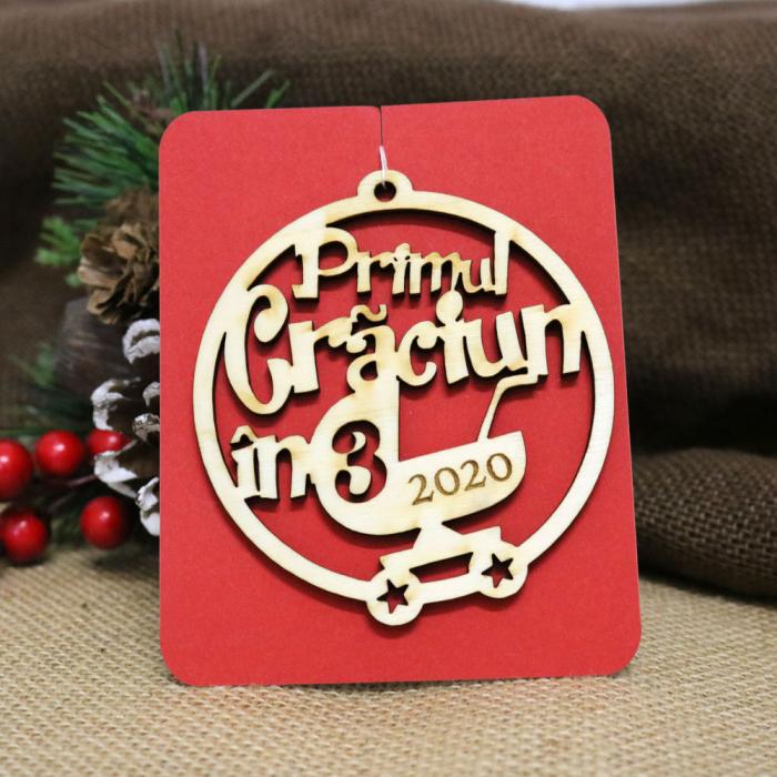 """Glob De Craciun, Rotund, Din Lemn, """"Primul Craciun In 3"""" [1]"""