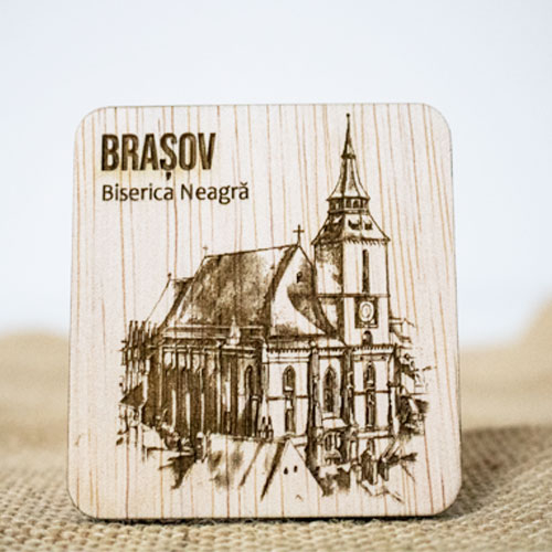 "Magnet De Frigider din lemn, gravat ""Biserica Neagra"" Brasov [0]"