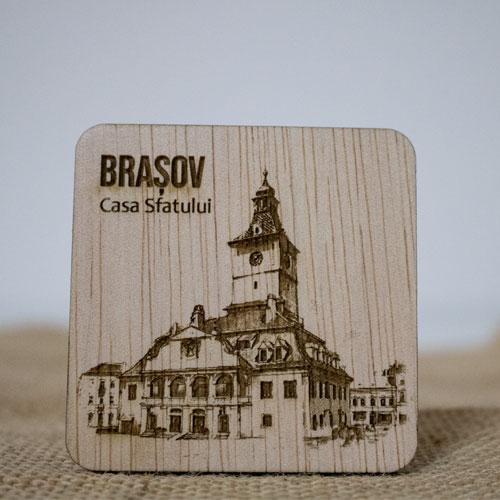 Magnet de frigider din lemn, gravat, Casa Sfatului Brasov 0
