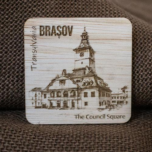 Magnet de frigider din lemn, gravat, Casa Sfatului Brasov 2
