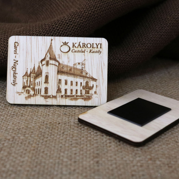 Magnet De Frigider din lemn,  Gravat,  Castelul Karolyi Carei [1]
