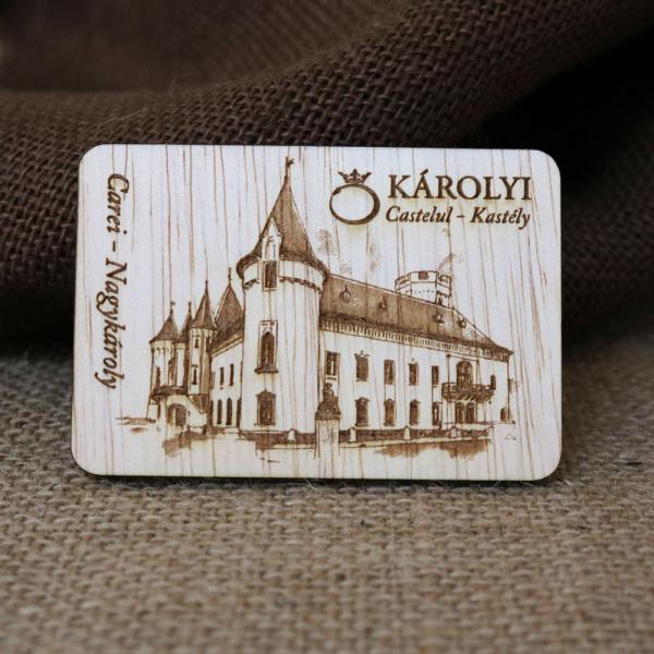 Magnet De Frigider din lemn,  Gravat,  Castelul Karolyi Carei [2]