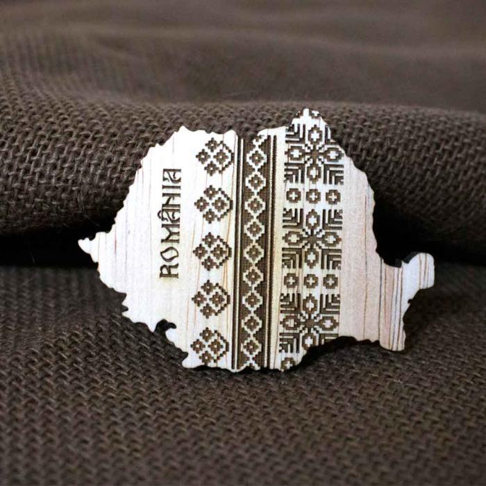 Magnet De Frigider Din Lemn, Gravat cu motive traditionale, Romania 1