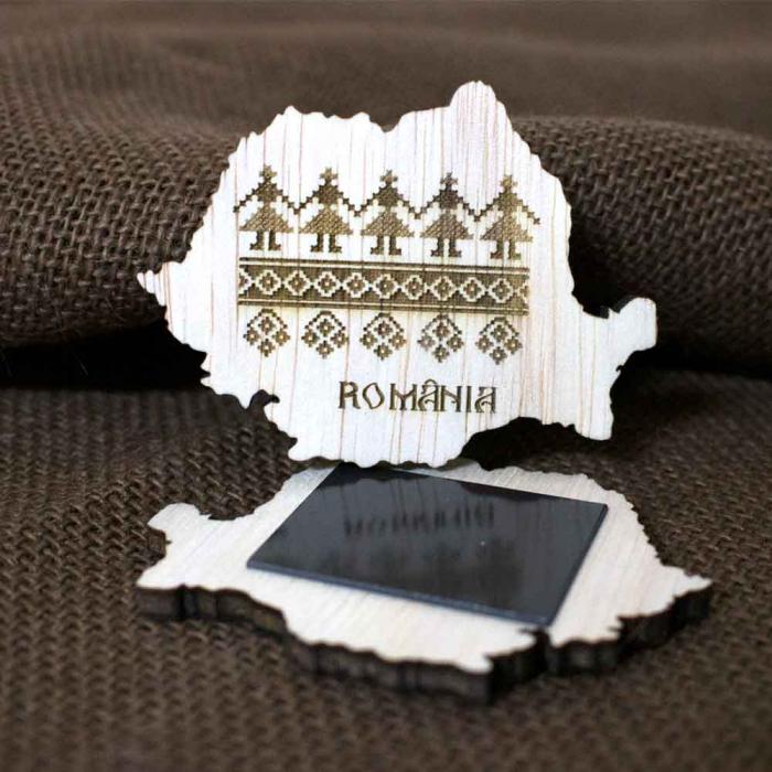 Magnet De Frigider Din Lemn, Gravat Cu Motive Traditionale, Romania [0]
