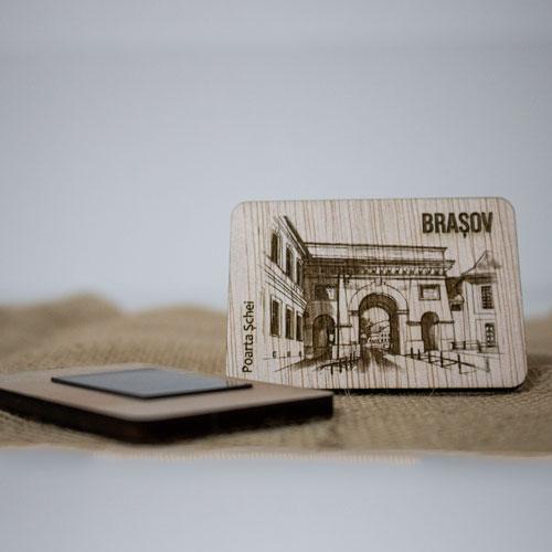 "Magnet De Frigider din lemn, gravat, ""Poarta Schei"" Brasov 1"