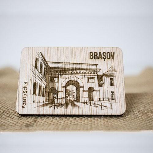 "Magnet De Frigider din lemn, gravat, ""Poarta Schei"" Brasov 0"
