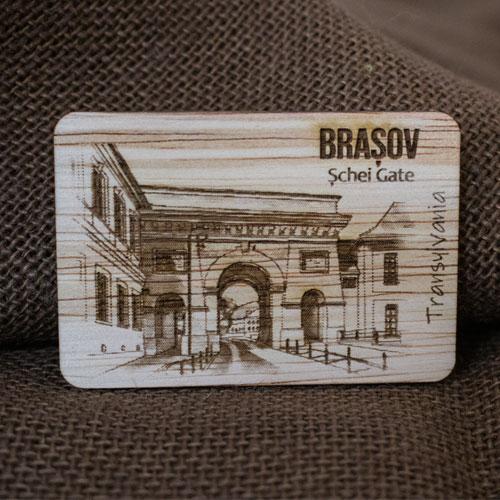 "Magnet De Frigider din lemn, gravat, ""Poarta Schei"" Brasov 2"