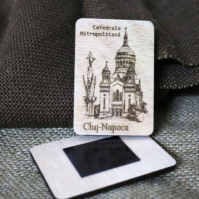 "Magnet De Frigider Gravat ""Catedrala Mitropolitana"" Cluj Napoca [0]"