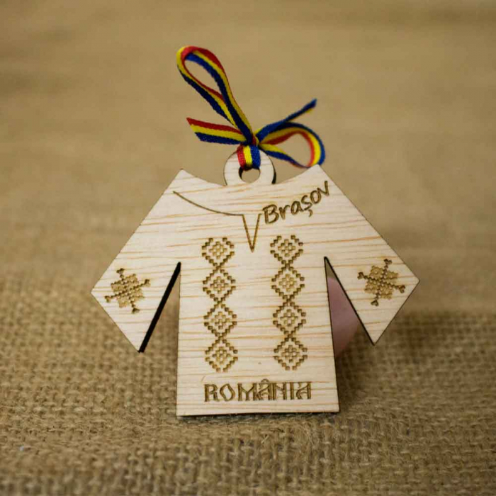 Magnet de frigider Gravat, Din Lemn, IE Traditionala Romania [1]