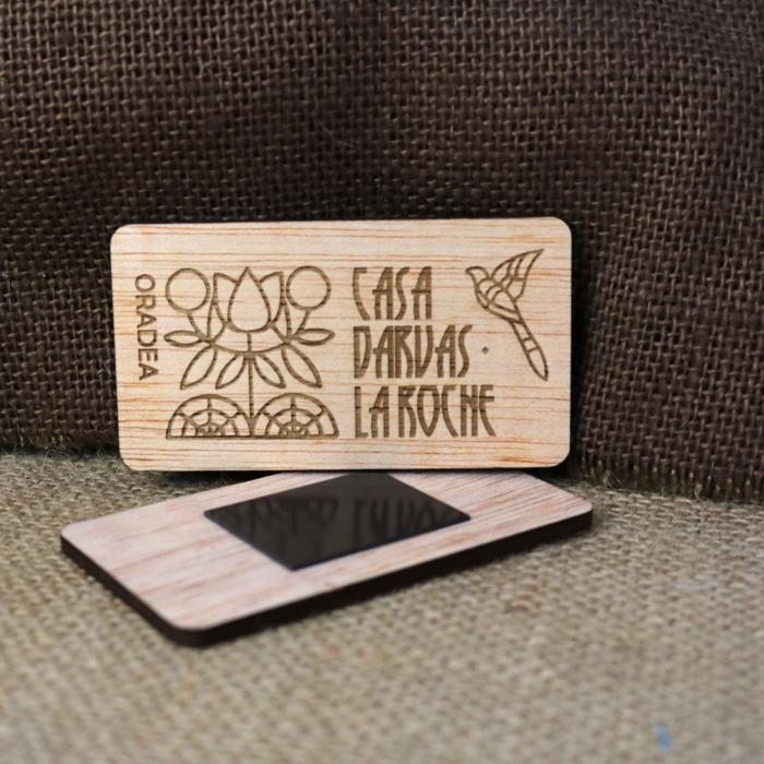 Magnet De Frigider suvenir, din lemn, Gravat, simboluri Art Nouveau, Casa Darvas La Roche Oradea [1]
