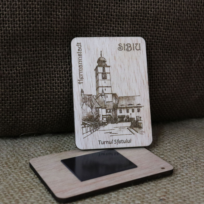 """Magnet de frigider suvenir, din lemn, gravat, """"Turnul Sfatului"""" Sibiu, desen realizat manual [1]"""