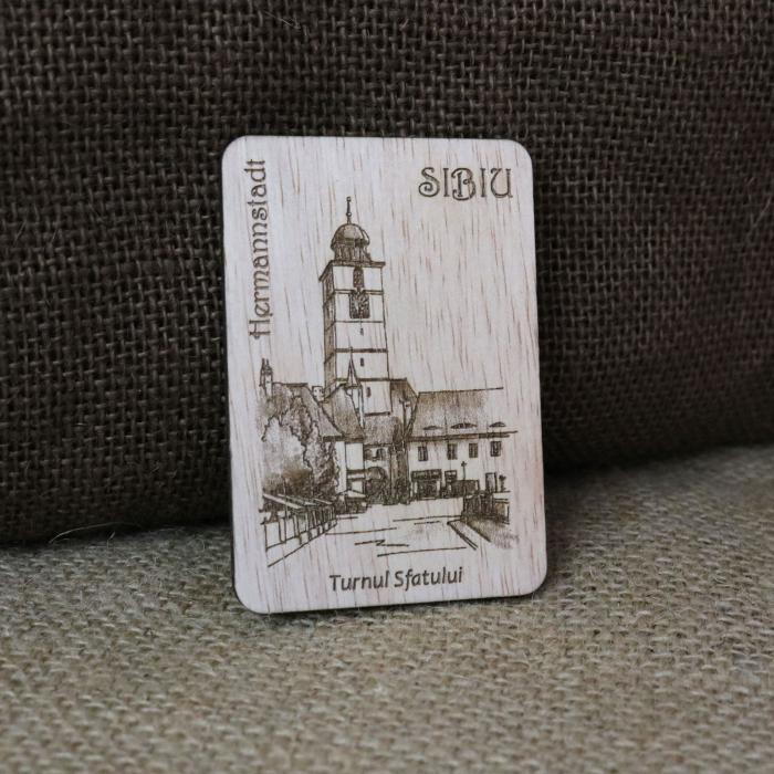 """Magnet de frigider suvenir, din lemn, gravat, """"Turnul Sfatului"""" Sibiu, desen realizat manual [0]"""