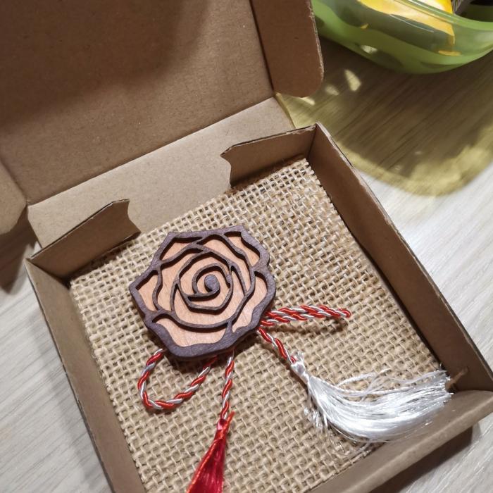 Martisor - brosa din lemn, Trandafir, portocaliu [2]
