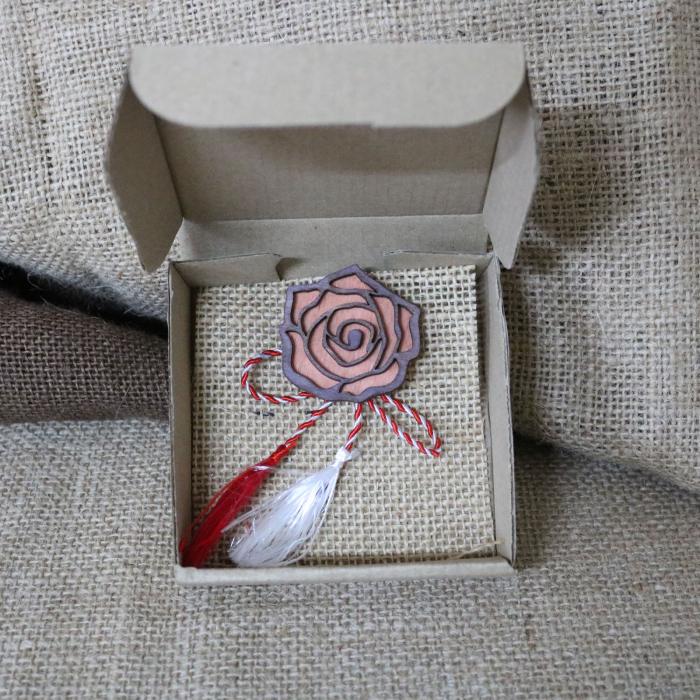 Martisor - brosa din lemn, Trandafir, portocaliu [4]