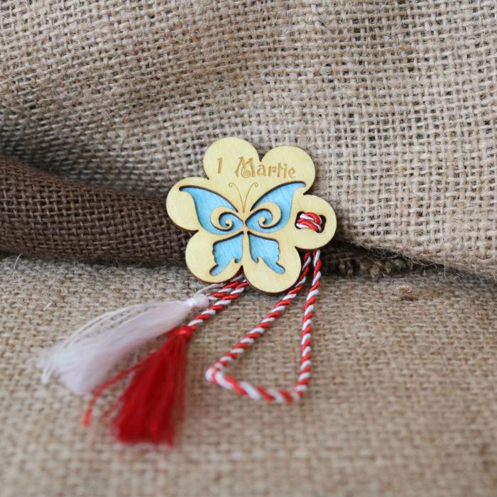 Martisor din lemn, Fluture, albastru 1