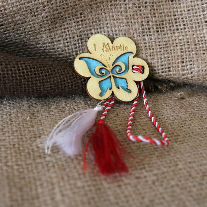 Martisor din lemn, Fluture, albastru 2