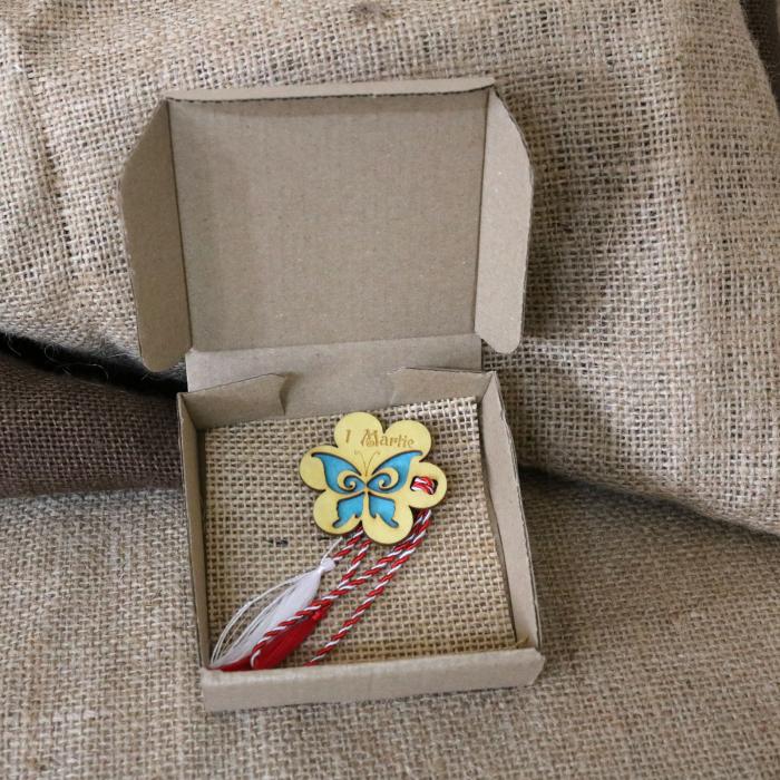 Martisor din lemn, Fluture, albastru 8