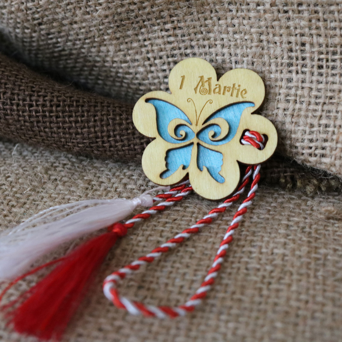 Martisor din lemn, Fluture, albastru 6