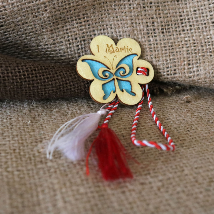 Martisor din lemn, Fluture, albastru 7