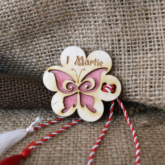 Martisor din lemn, Fluture, rosu [0]