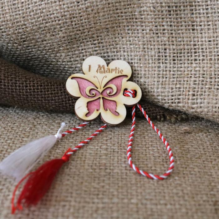 Martisor din lemn, Fluture, rosu [7]