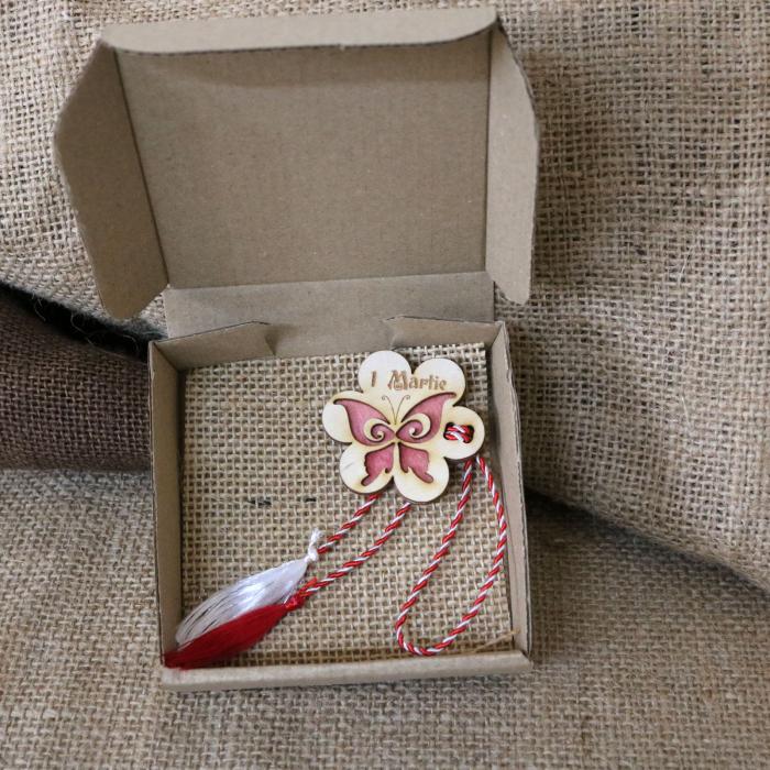 Martisor din lemn, Fluture, rosu [9]