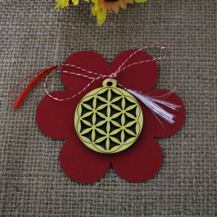 Martisor din lemn, decupat Floarea vietii, galben [1]
