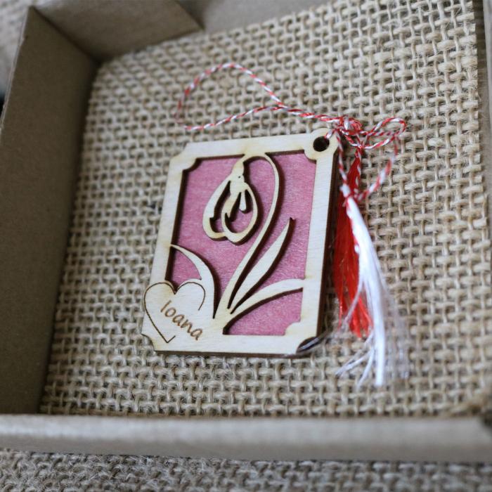 Martisor din lemn, Personalizat, Ghiocel, rosu [5]