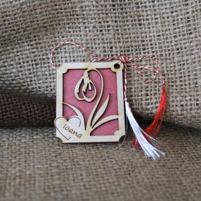 Martisor din lemn, Personalizat, Ghiocel, rosu [1]