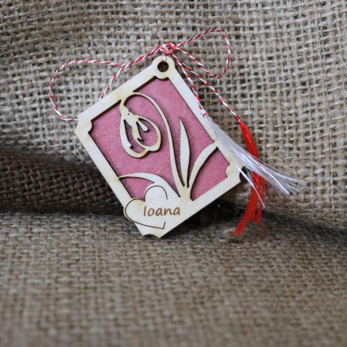 Martisor din lemn, Personalizat, Ghiocel, rosu [2]