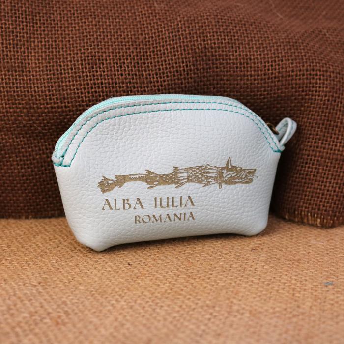 Mini portofel suvenir din piele, gravat Lupul Dacic, Cetatea Alba Carolina - Alba Iulia (culoare: albastru deschis) [0]