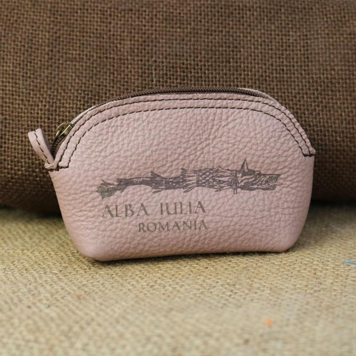 Mini portofel suvenir din piele, gravat Lupul Dacic, Cetatea Alba Carolina - Alba Iulia (culoare:  roz pudra) [0]