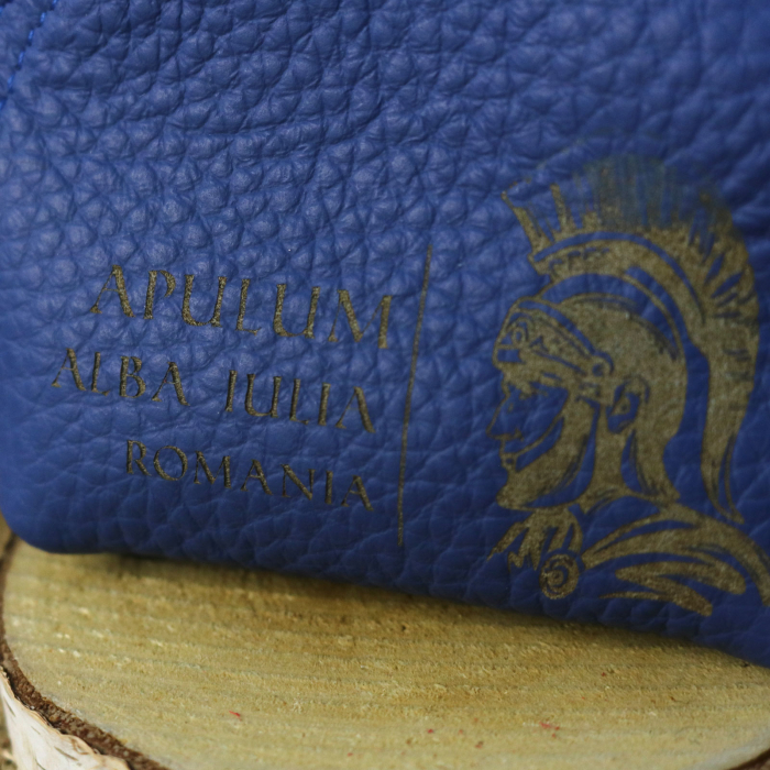 Mini portofel suvenir din piele, gravat Soldatul Roman, Cetatea Alba Carolina - Alba Iulia (culoare: albastru inchis) [1]