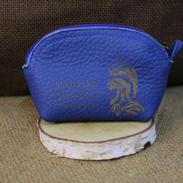 Mini portofel suvenir din piele, gravat Soldatul Roman, Cetatea Alba Carolina - Alba Iulia (culoare: albastru inchis) [0]
