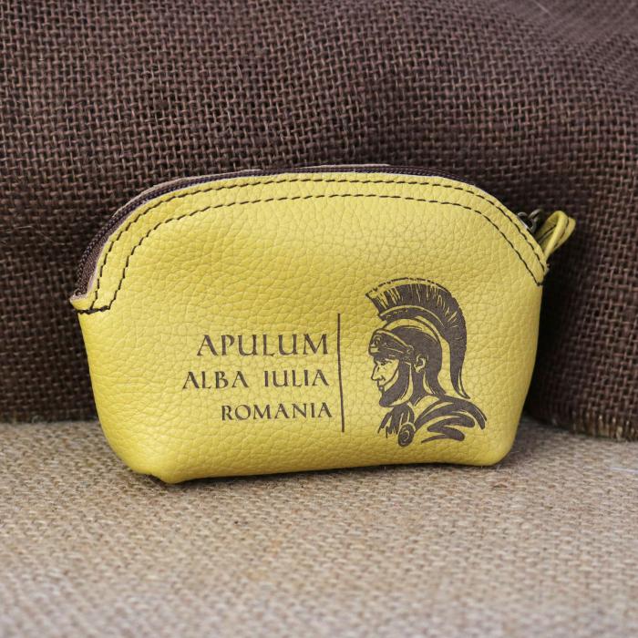 Mini portofel suvenir din piele, gravat Soldatul Roman, Cetatea Alba Carolina - Alba Iulia (culoare: galben mustar) [0]