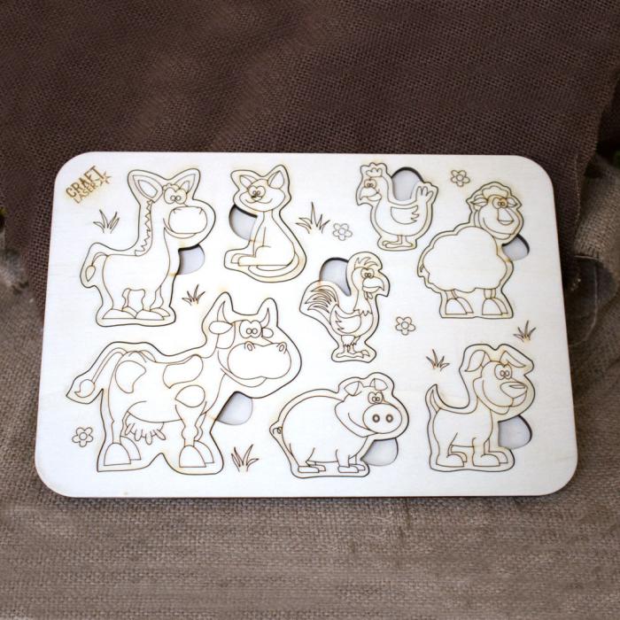 """Puzzle din lemn personalizat , pentru copii,  """"Ferma Animalelor"""" 0"""
