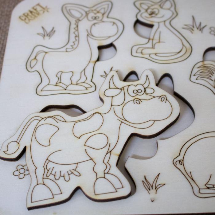 """Puzzle din lemn personalizat , pentru copii,  """"Ferma Animalelor"""" 3"""